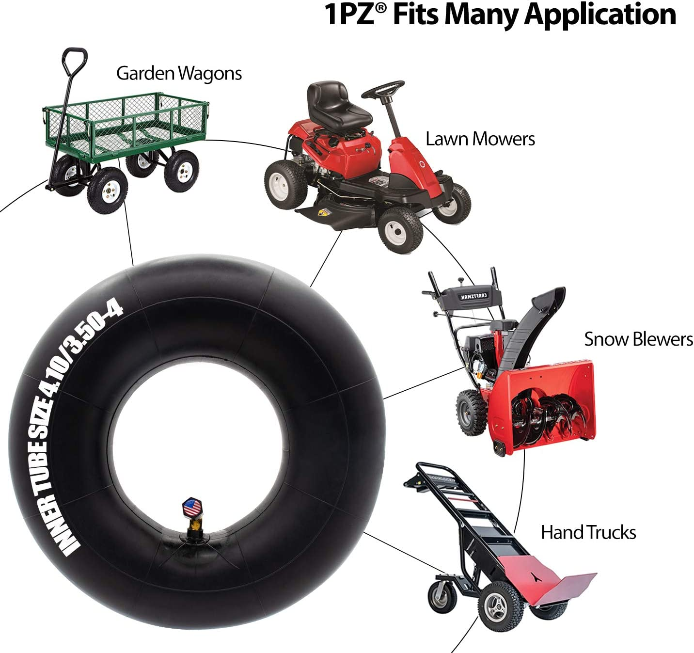 Hand Cart Generator and More Replacement Tube Motorcycle 4.10//3.50-4 Inner Tube For Hand Truck Snowblower Wheelbarrow Lawn Mower Utility Carts Garden Cart Utility Wagon Dolly Scooter