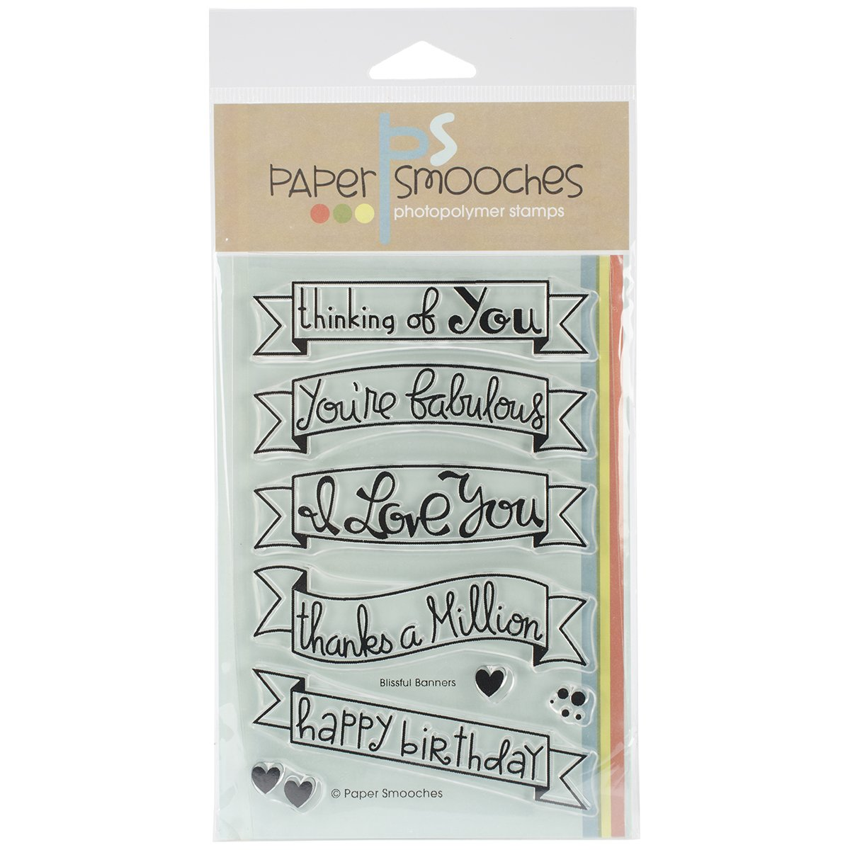 Paper Smooches Rubber 4-inch x 6-inch Clear Stamps-Blissful Banners J2S213