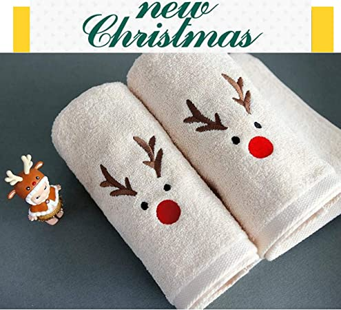 Embroidered Velour Hand Towel Green Towel Merry Christmas Snoopy