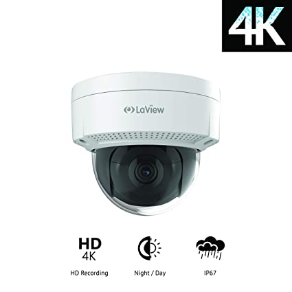 LaView Ultra HD 4K 8MP Dome IP Camera, Compatible with NVR(not DVR),  Digital, ONVIF