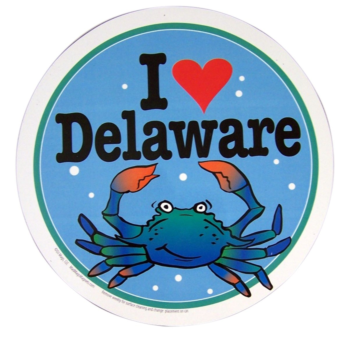 5 3//4 Inch Mad Mags I Heart Delaware Round Crab Car Magnet Decal