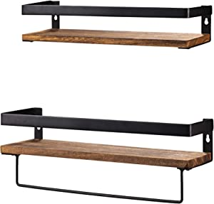 Y&ME Bathroom Storage Shelf Wall Mounted Set of 2,Rustic Wood Floating Shelves with Removable Towel Bar,Perfect for Kitchen, Bathroom, Carbonized Brown