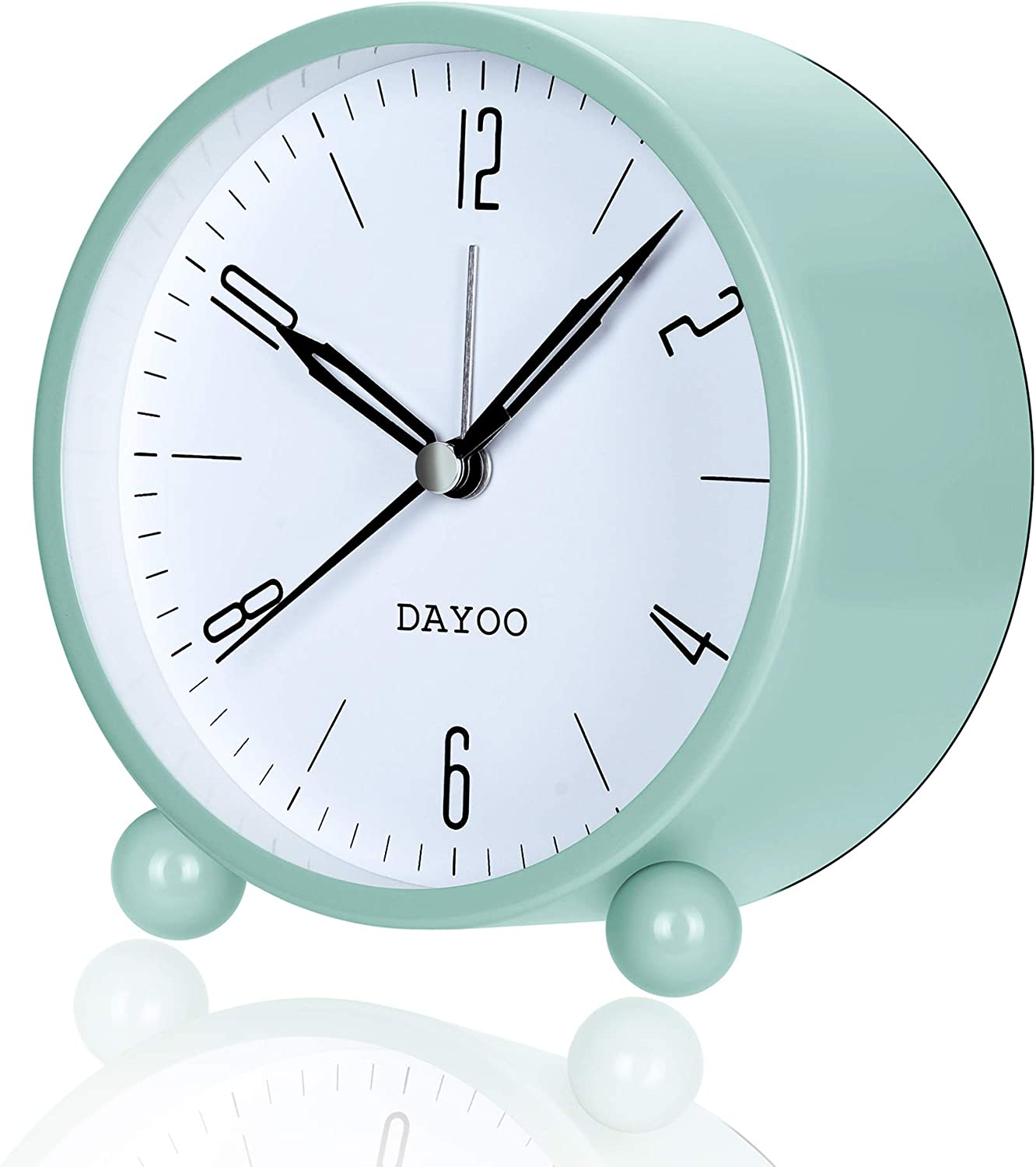 DAYOO Alarm Clock, Analog Alarm Clock Non Ticking with Snooze for Heavy Sleepers, Battery Operated and Light Function, Super Silent Alarm Clock with Simple Design for Desk/Bedroom (2020 Version)