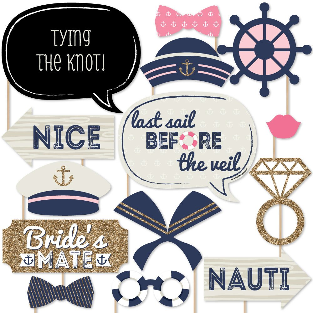 Nautical Bachelorette - Last Sail Before The Veil Bachelorette Party Photo Booth Props Kit - 20 Count by Big Dot of Happiness