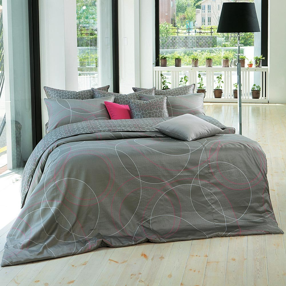 1100TC Modern Sateen Gray & Hot Pink Ring Pattern Sheet Set -Queen