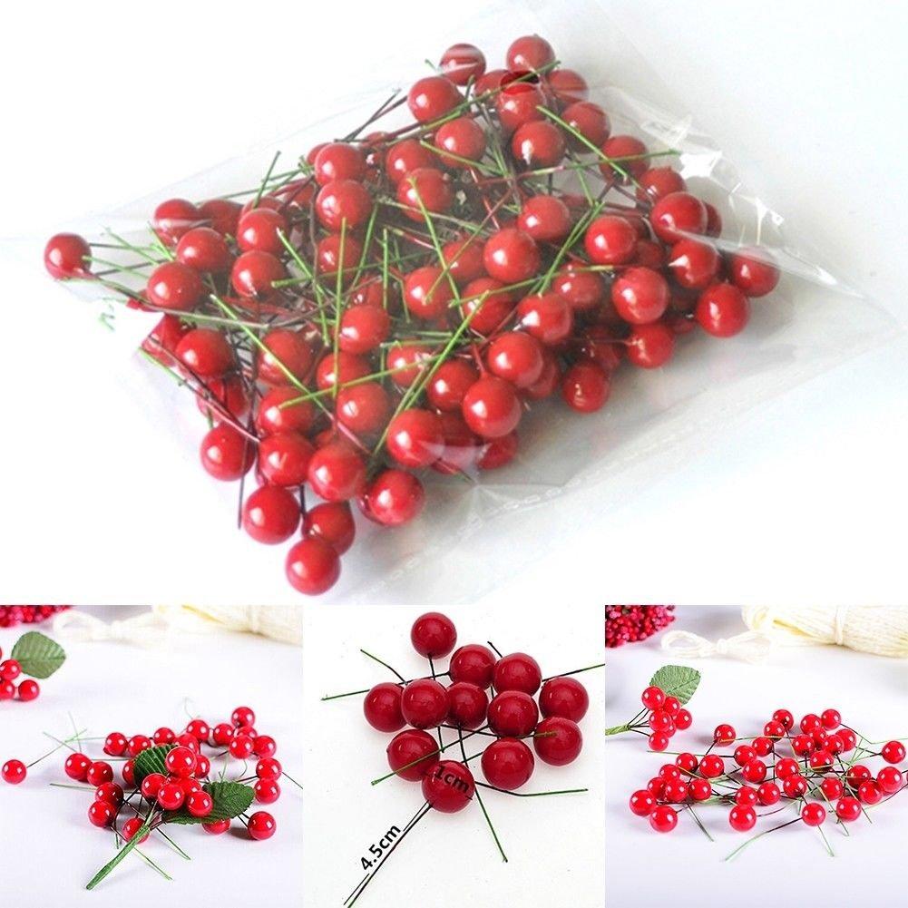 100pcs Christmas Leaf Tree Fruit ramo di ciliegio ornamenti albero di Natale appeso Decor DIY Home Decor GEBI