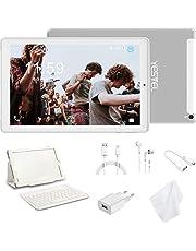 Tablet 10.1 Pulgadas YESTEL Android 8.0 Tablets PC con 3GB RAM & 32GB ROM y 4G LTE Dual SIM Call, 5.0 MP + 8.0 MP HD la Cámara y 8000mAH (WI-FI ,GPS, Bluetooth ,FM Radio) Blanco/Plata