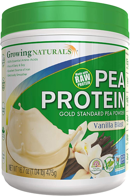 Growing Naturals | Plant Based Protein, Gold Standard Raw Pea Protein Powder | Vanilla Blast | Non-GMO, Vegan, Gluten-Free, Keto Friendly, Shelf-Stable | 1LB