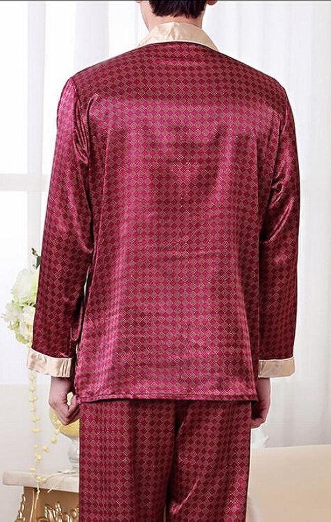 3d8bc9537c Pivaconis Mens Warm Silk Pajamas Set For Most Comfortable Sleepwear at  Amazon Men s Clothing store