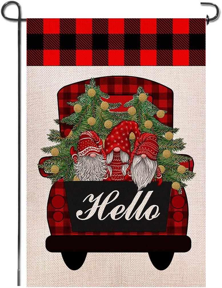 Shmbada Hello Christmas Winter Red Truck Gnome Burlap Garden Flag, Double Sided Seasonal Home Decor Outdoor Decorative Small Flags for Yard Lawn Patio Porch Farmhouse, 12 x 18 Inch