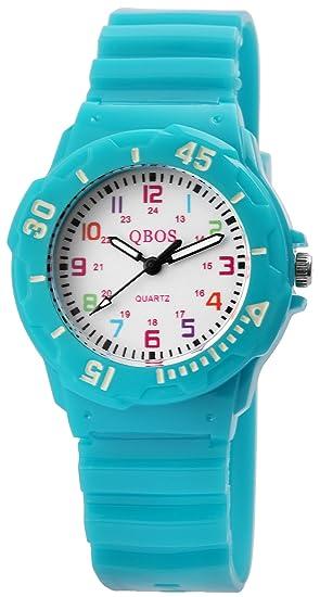 2546398b311c Reloj De Pulsera Infantil Color Blanco Turquesa plástico silicona analógico  de cuarzo reloj de pulsera  Amazon.es  Relojes