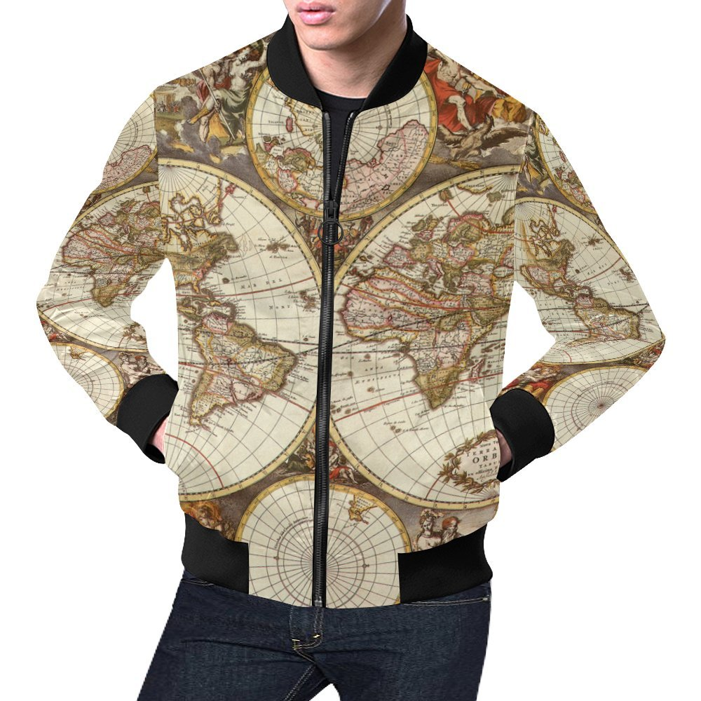 Amazon.com: Vintage Old World Map Men\'s 3D Printed Full Zip Casual ...