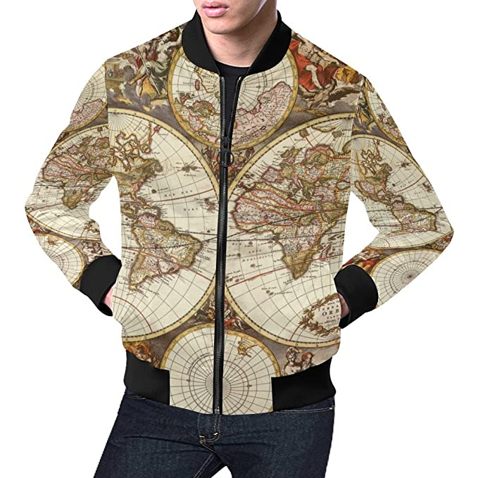 Amazon.com: Vintage Old World Map Men\'s 3D Printed Full Zip ...
