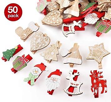 Weihnachtsdeko Holzklammern Für Fotos Absofine 50er Mini Klammern