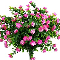 YOSICHY Artificial Flowers, Fake Outdoor UV Resistant Plants Faux Plastic Greenery Shrubs for Outside Hanging Planter…