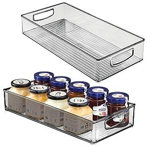 "mDesign Plastic Stackable Kitchen Pantry Cabinet, Refrigerator or Freezer Food Storage Bin with Handles - Organizer for Fruit, Yogurt, Snacks, Pasta - BPA Free, 16"" Long, 2 Pack - Smoke Gray"