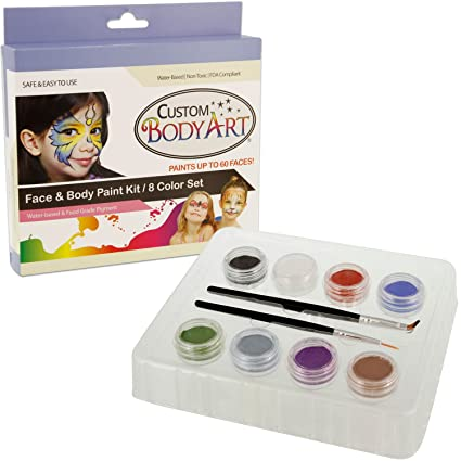 Kustom Body Art Boys Face Paint Set 8 Color Boxed Set 3 Ml 2 Makeup Brushes