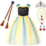 Princess Costumes Birthday Party Dress Up for Little Girls with Wig,Crown,Mace,Gloves Accessories 3-10 Years