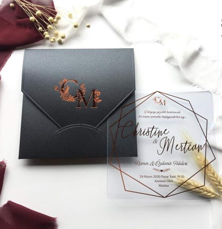 Amazon Com Premium Acrylic Wedding Invitation Clear Wedding Invitation Transparent Wedding Invitation Choose Style Foil Stamp Handmade