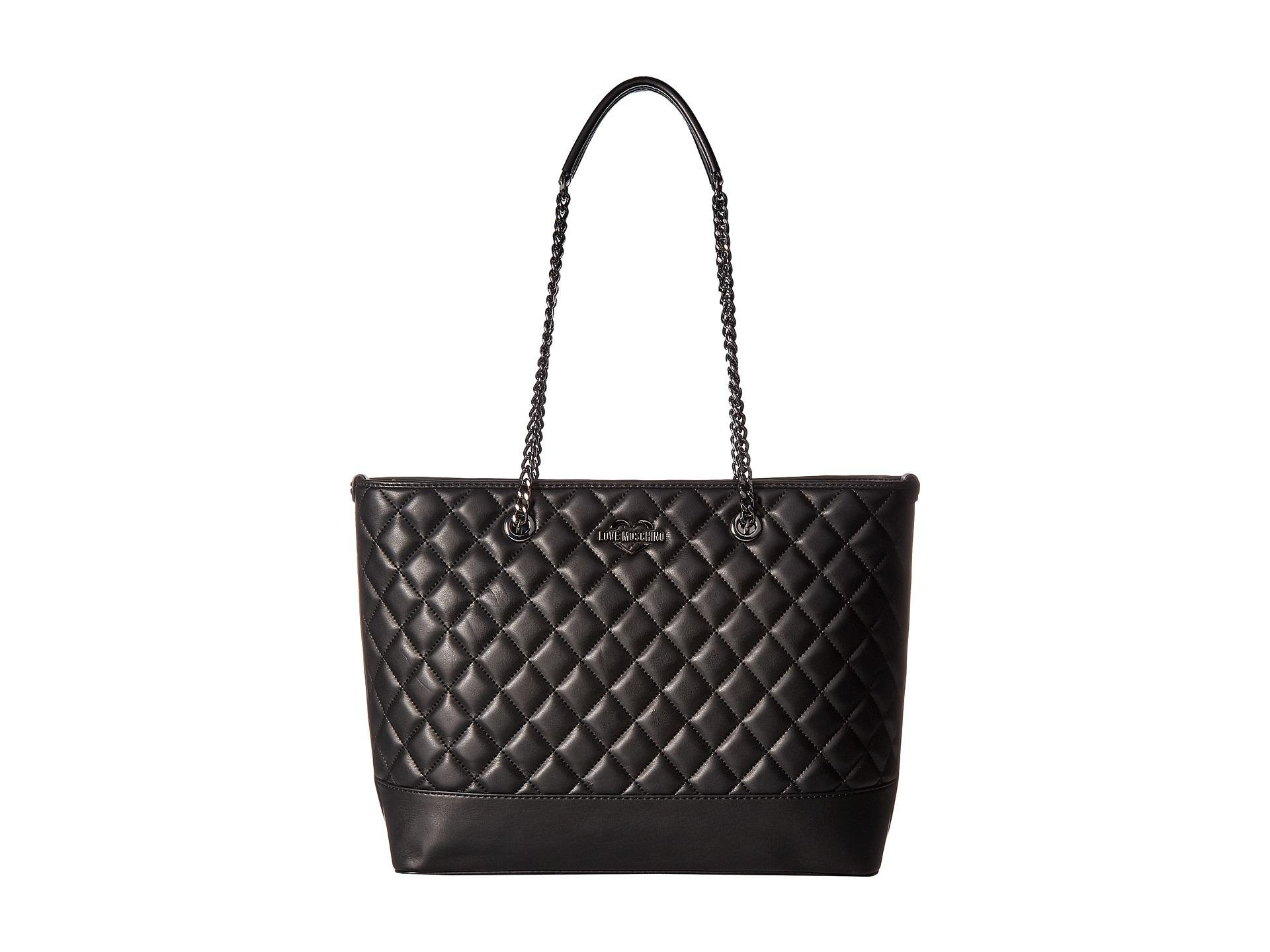 LOVE MOSCHINO Diamond Quilted Logo Shoulder Tote Bag, Black