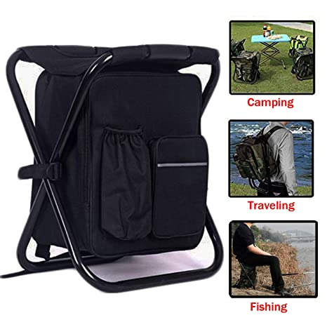 Novelty & Special Use Outdoor Folding Stool Portable Backpack Chair Stool Fishing Chair With Insulated Cooler Bag For Camping Fishing Hiking Beach