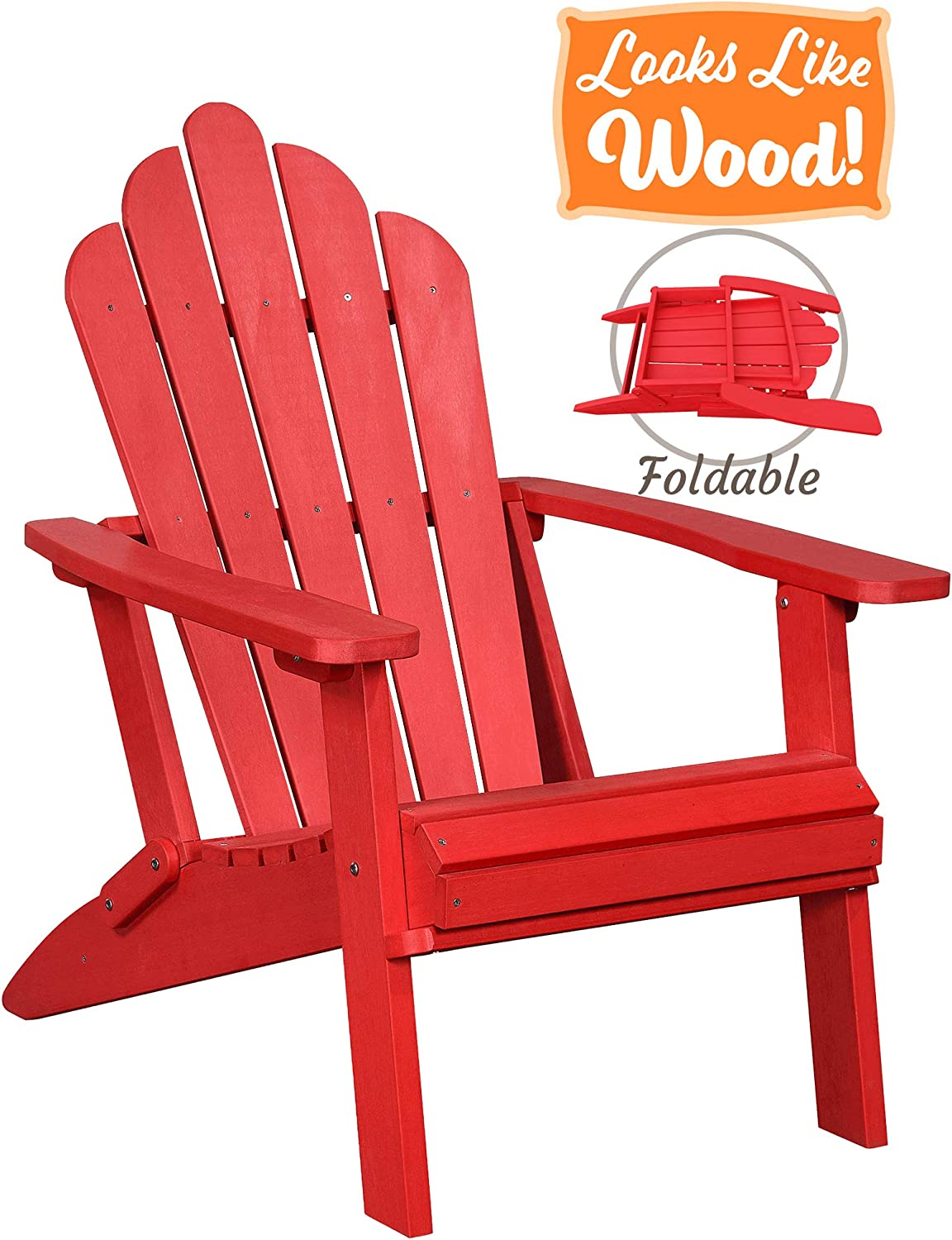 PolyTEAK Seashell Oversized Folding Poly Adirondack Chair, Cardinal Red Adult-Size, Weather Resistant, Made from Plastic