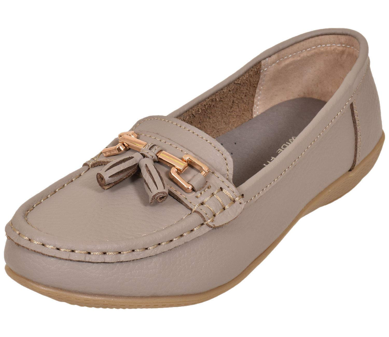 121345f134d Women Leather Flat Loafer Ladies Casual Comfy Slider Low Wedge Heel Work  Shoes Jo   Joe