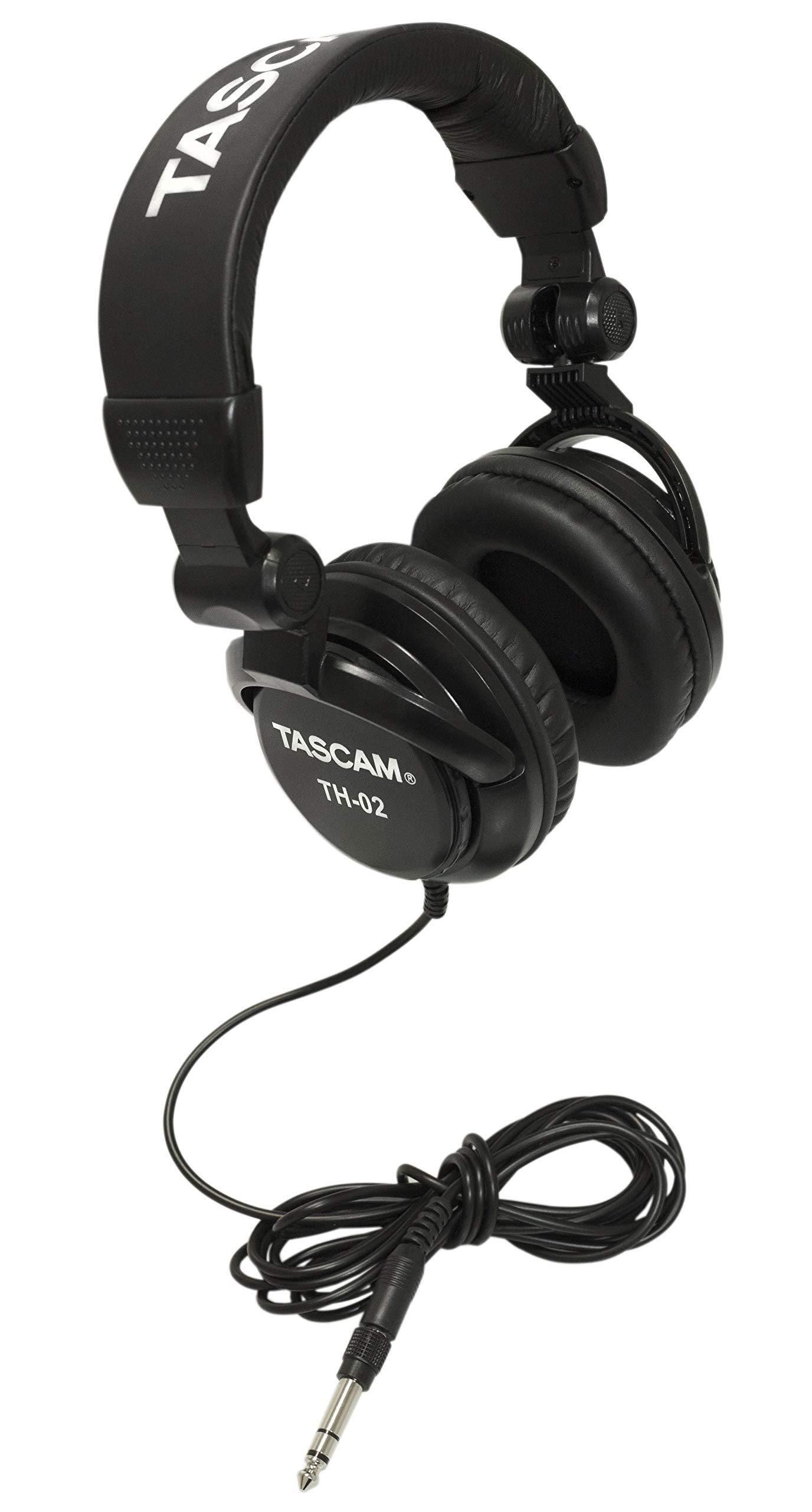 Tascam TH-02 Closed Back Studio Headphones, Black by Tascam
