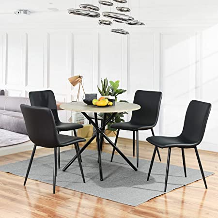 FURNISH1 Lot de 4 chaises de Salle a Manger de Style scandinave avec Un revêtement en Simili Cuir Noir, Pieds métal Noirs