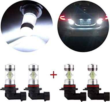 ROADFAR 9005 HB3 LED Light Bulbs 9006 HB4 LED Lights 12SMD White LED Bulbs for Fog Lights,4Pack