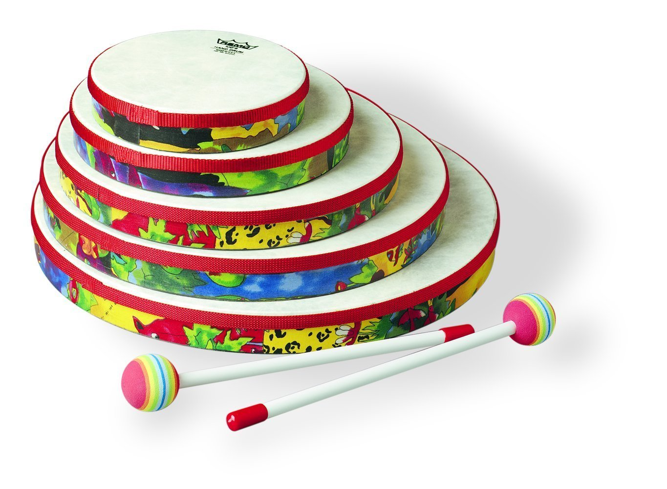 Remo Kid's Percussion Set of 5 Hand Drums (6 - 14 in) in Rainforest Design (Age 5+)