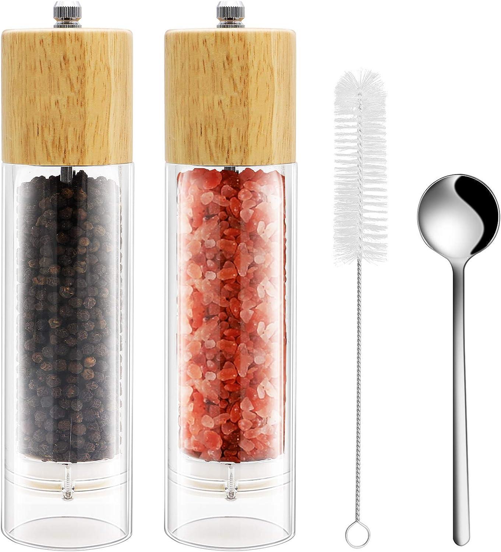LetGoShop Salt Pepper Grinders Refillable Set, Pepper Mill - Salt Grinder with Adjustable Ceramic Rotor, Best Natural Oak Wood & Acrylic Glass Sea Salt Pepper Large Shakers Kit, 8 Inches 2 PCS