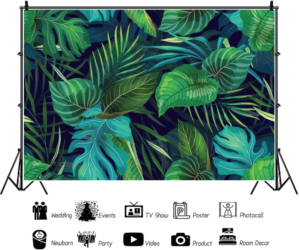YEELE 12x8ft Tropical Leaves Backdrop Kids Safari Themed Birthday Photography Background Banana Leaf and Palm Tree Pictures Summer Hawaiian Event Kids Adults Portrait Photobooth Props Wallpaper