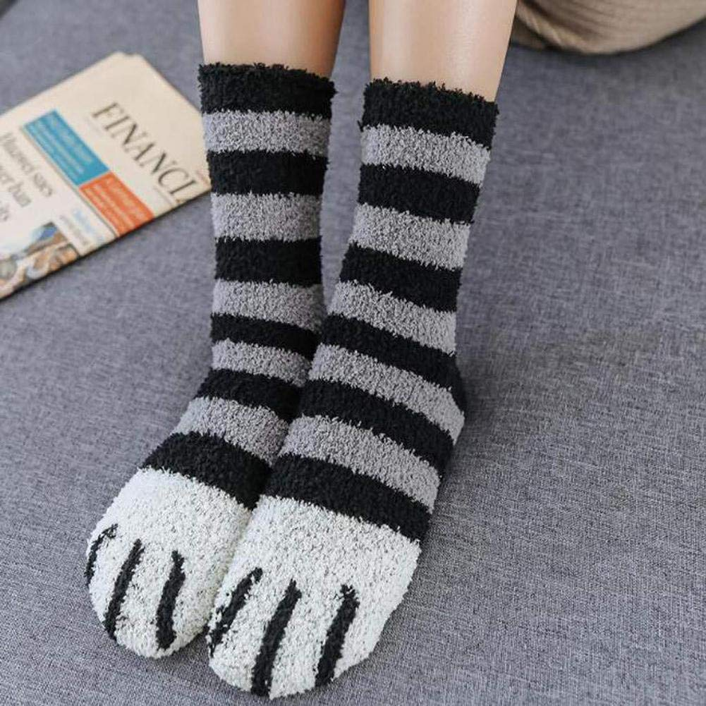 MotH Women Fuzzy Fluffy Cozy Slipper Socks Winter Warm Cute Cat Claw Plush Home Soft Sleeping Socks