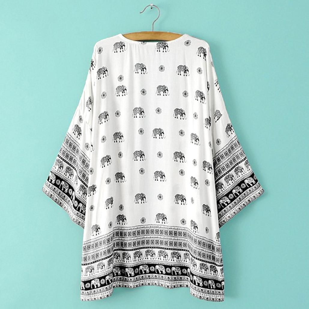 Malloom® Mujeres elefante Impreso media manga kimono Cardigan Tops blusa Outwear Chaqueta (L(EU38)): Amazon.es: Ropa y accesorios