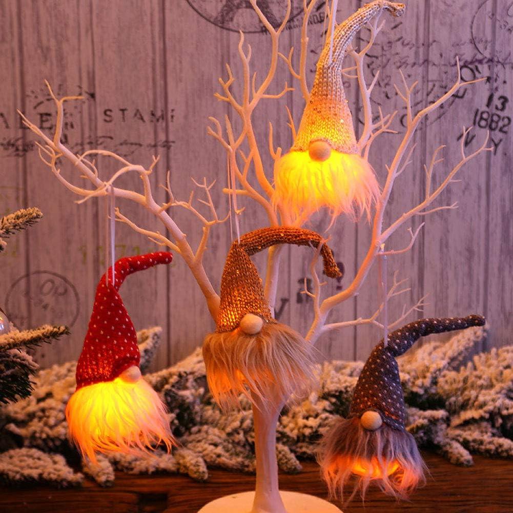 WESOLDECOR Christmas Gnome with Night Lights, Nordic Holiday Xmas Decoration Swedish Gnomes Tomte Scandinavian Santa Elf Table Ornament Plush Doll, Hanging Decors for Christmas Tree, Set of 4
