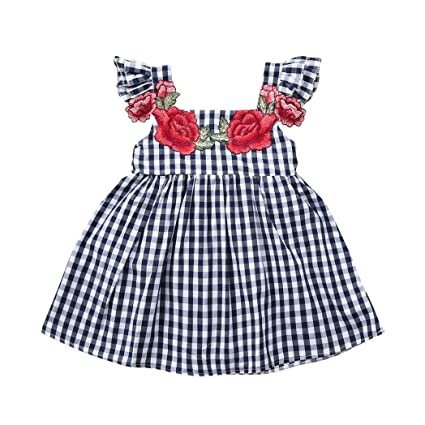 60595602a2ab2 Ankola Infant Toddler Baby Girl Clothing Plaid Dress Embroidery Floral  Ruffle Sleeveless Skirt Summer Outfit (