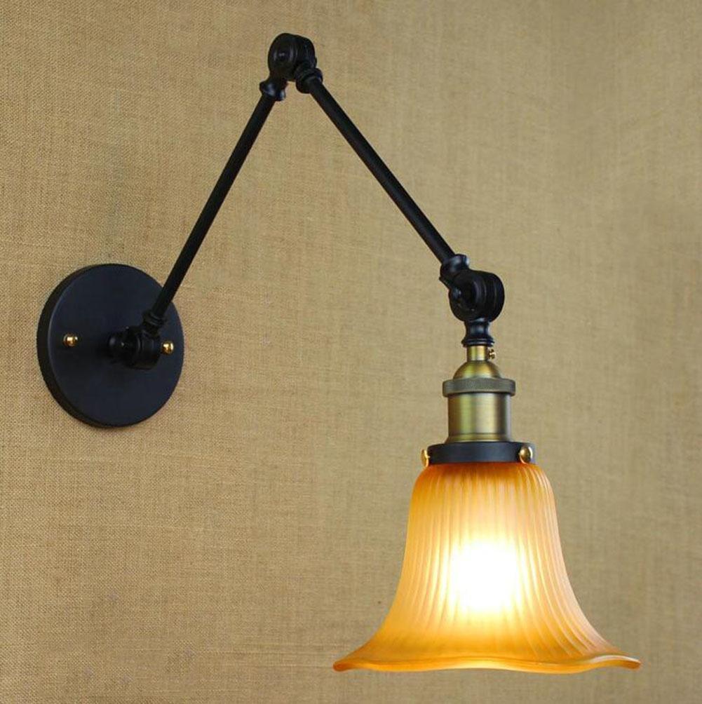 Wandlampen Kreativ Doppelter Abschnitt schwarz Einstellbare Kipphebel LED Industriell E27 Modern Metall Lampenschirm Innen Nachttisch Beleuchtung Befestigung
