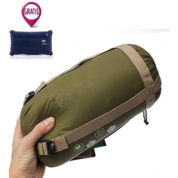 Anokay Saco de dormir ultraligero, pequeño, cálido saco de dormir para acampada exterior –