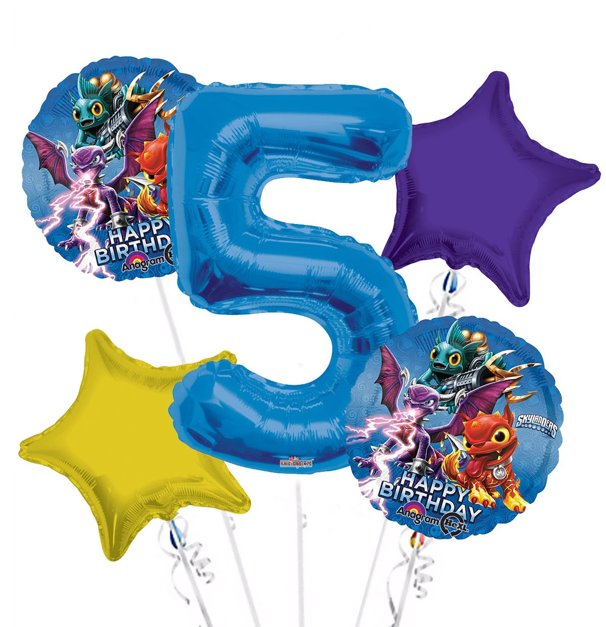 Amazon Skylanders Happy Birthday Balloon Bouquet 5th 5 Pcs
