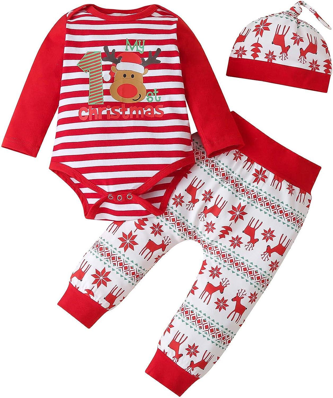 Infant Newborn Baby Christmas Outfit Stripe Pajamas Bodysuit Winter Onesies for Boys Girls Pajamas Clothing Set