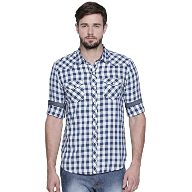 2f3d3ed01 JEANERATION Blue Cotton Checks Oxford Shirt for Men: Amazon.in: Clothing &  Accessories