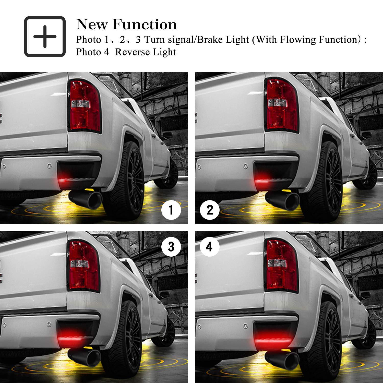 Corner Step Bar LED Light for Chevrolet//GMC//Chevy Rear Bumper Corner Step Bar Lamp with Running Reverse Brake Signal Truck LED Tailgate Light Bar Weatherproof SUNPIE