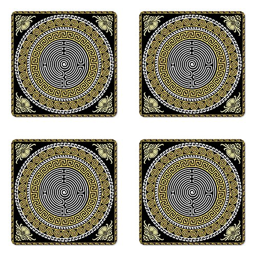 Frame Occasions Drink Coasters - Ambesonne Greek Key Coaster Set of 4, Classical Pattern with Intricate Design Spiral Waves Frame and Maze, Square Hardboard Gloss Coasters for Drinks, Standard Size, Yellow White