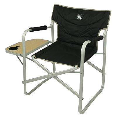 10T Stagedirector Chaise de camping avec support de pose pliant léger et stable Noir/Beige/Bois