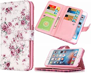 iPhone 6S Wallet Case HYSJY iPhone 6 Wallet Purse for Women Men with Card Slots Stand Feature Card Holer Folio Wallet case Cover Fit iPhone 6/6S(YH-Flower)