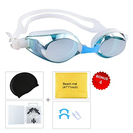 7f6c95a39f Mens Swimming Goggles,5-Piece Set of Swimming Gear with Swim Cap Nose Cover