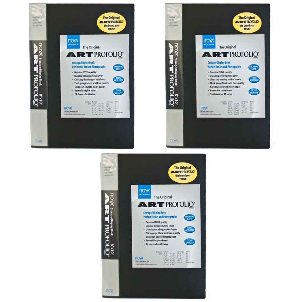 Itoya Art Profolio Original Storage/Display Book 8 x 10, 24 Pages Pack of 3