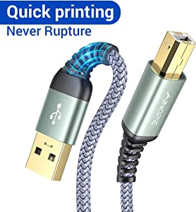 Never Rupture USB Printer Cable, 6.6FT/2 Meter USB Printer Cord USB 2.0 Type A Male to B Male Scanner Cord High Speed for HP, Canon, Dell, Epson, Lexmark, Xerox, Samsung and More