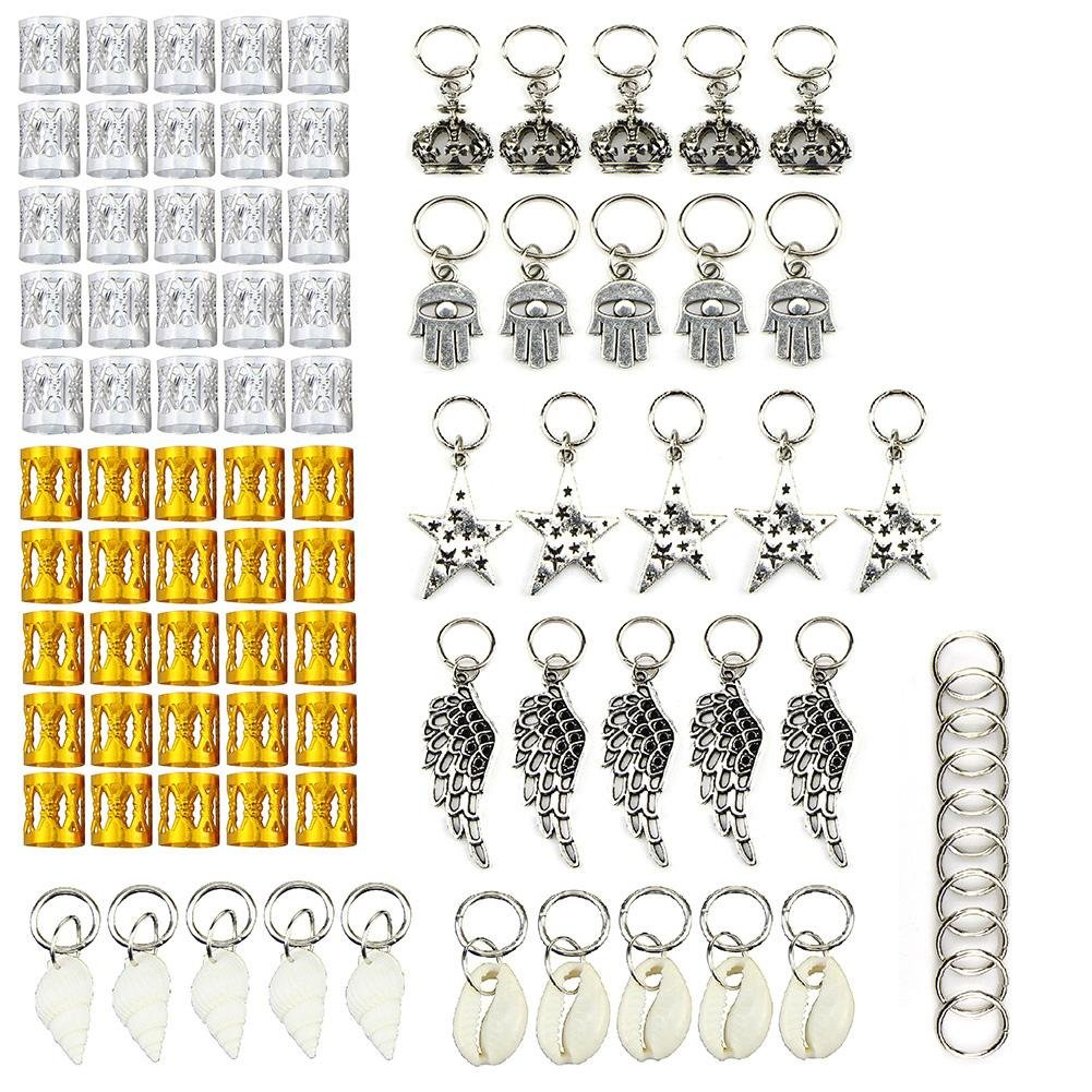 KeyZone 90 Pieces Hair Jewelry Rings Clips Aluminum Gear Bell Butterfly Adjustable Metal Cuffs Dreadlocks Beads Braiding Hair Decorations
